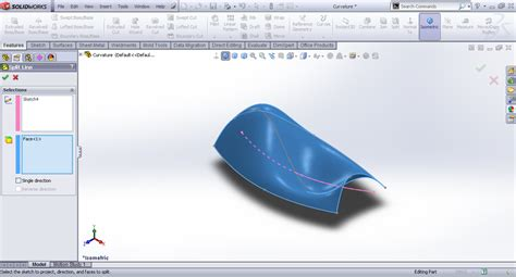 Line Slit tutorial splitting surfaces using split line in
