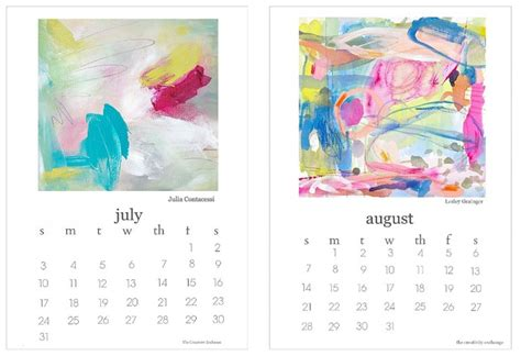 printable art calendar 2016 planners to help with staying on track
