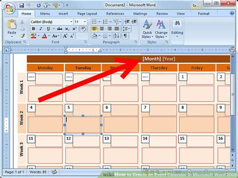 create event calendar microsoft word