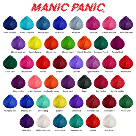 manic panic hair color chart manic panic high voltage classic semi permanent hair dye