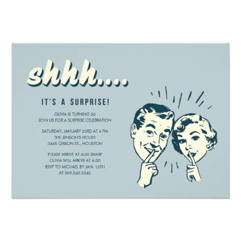 retro surprise birthday invitations zazzle