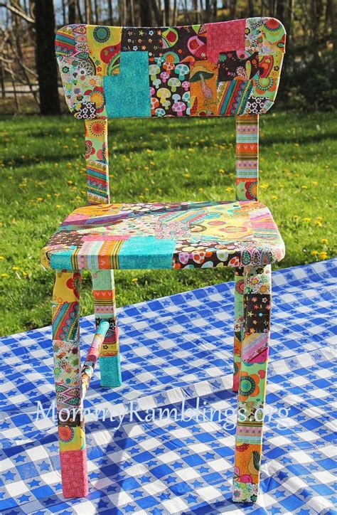decoupage a chair decoupage furniture with fabric and modpodge ramblings