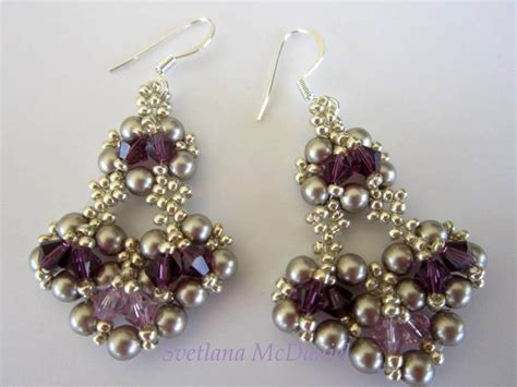 Chandelier With Crystals Beaded Earrings With Amethyst Swarovski Crystals Youtube