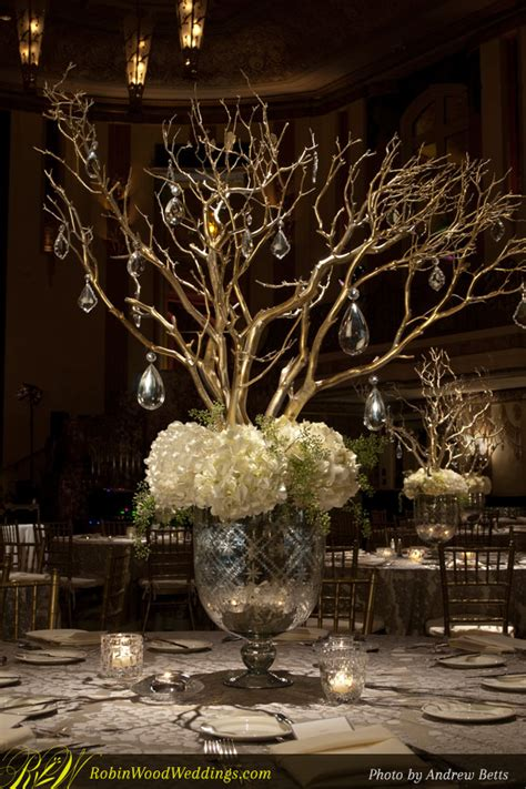 Wedding Centerpiece In Mercury Glass With White Hydrangea White Manzanita Tree Centerpiece