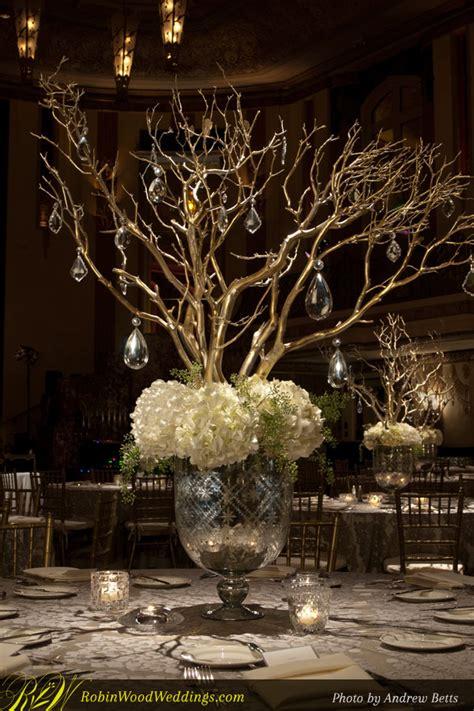 wedding centerpiece in mercury glass with white hydrangea