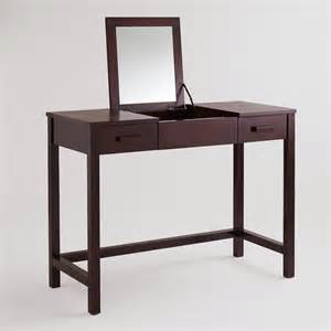 Vanities For Makeup With Lights Dark Mahogany Chase Vanity Table World Market