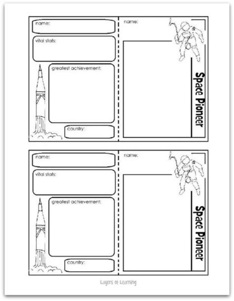 free trading card templates space pioneers layers of learning