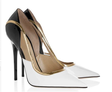 womens black and white high heels 2016 shoes white black leather gold trim high heels