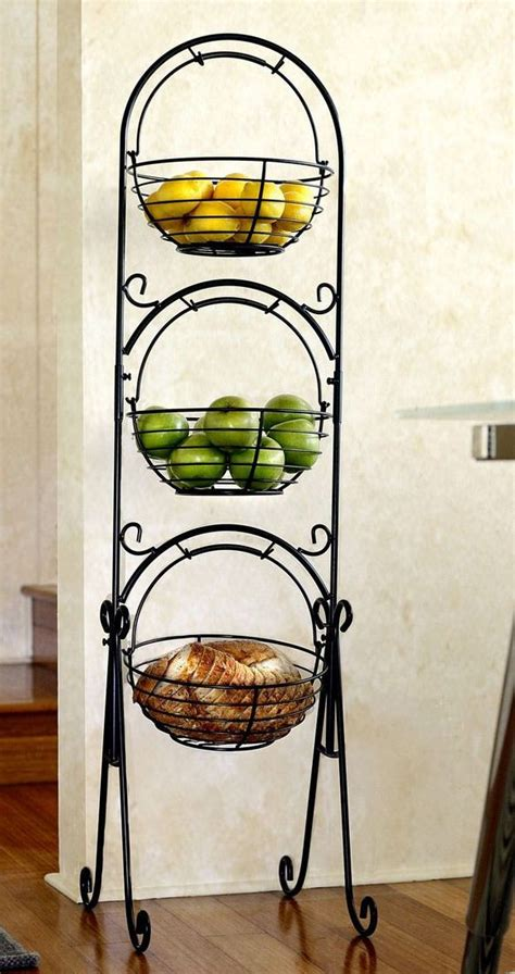 3 Tier Fruit Basket Floor Stand scroll 3 tier versatile floor basket stand can be used in any room of the house from fruit to