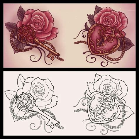 heart lock rose tattoo locket with a this but make the locket light
