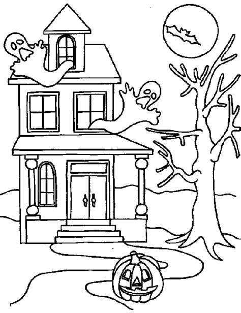 halloween coloring pages of haunted house halloween