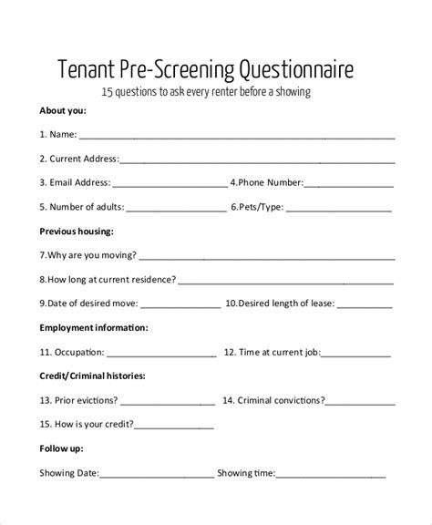 Sle Questionnaire Forms 24 Free Documents In Pdf Tenant Survey Template