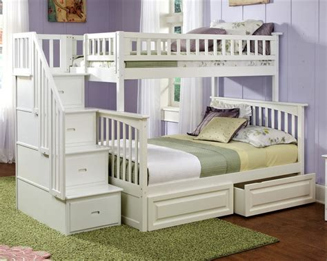 Columbia Twin Over Full Staircase Bunk Bed White Bedroom Bunk Bed Staircase