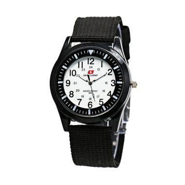 Jam Tangan Hitam Putih jual swiss army 0025 kanvas jam tangan wanita hitam putih harga kualitas