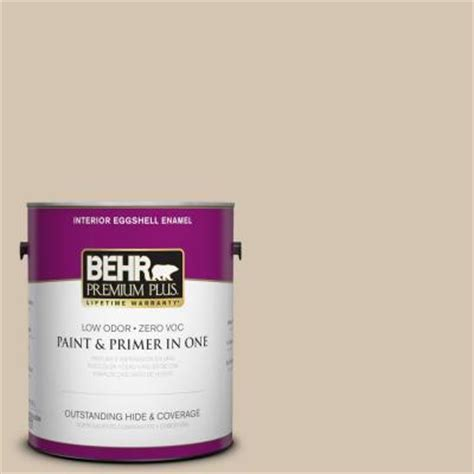 behr premium plus 1 gal n300 3 casual khaki eggshell enamel interior paint 240001 the home depot