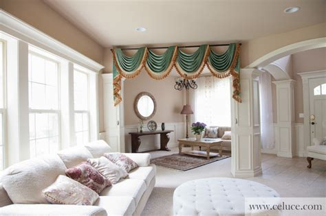 swag curtains for living room green chenille swag valance curtains traditional