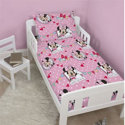 minnie mouse cafe junior cot bed duvet cover set toddler