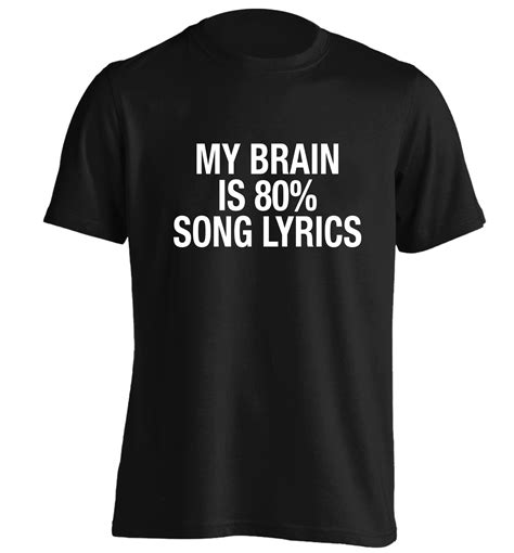 White Song Shirt my brain is 80 song lyrics tshirt instagram