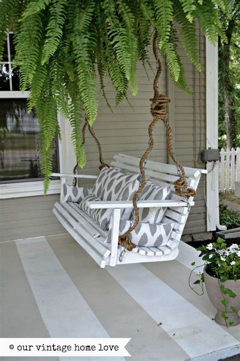swinging porch bench our vintage home love summer porch with rope covered