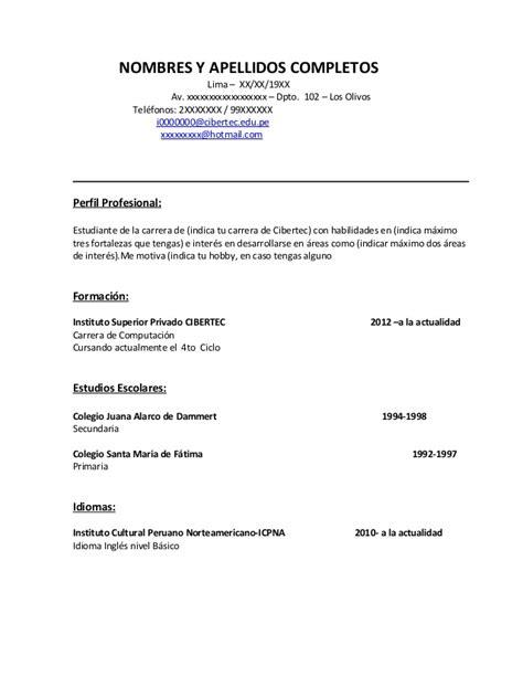 Modelo Curriculum Vitae Para Universidad modelo de curriculum vitae lima modelo de curriculum vitae