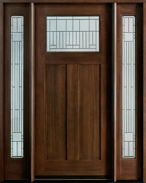 Solid Wood Doors Exterior Front Door Custom Single With 2 Sidelites Solid Wood With Walnut Finish Craftsman Model Db