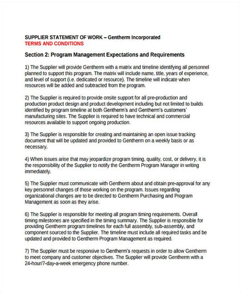 statement of works template 29 statement of work exles sles