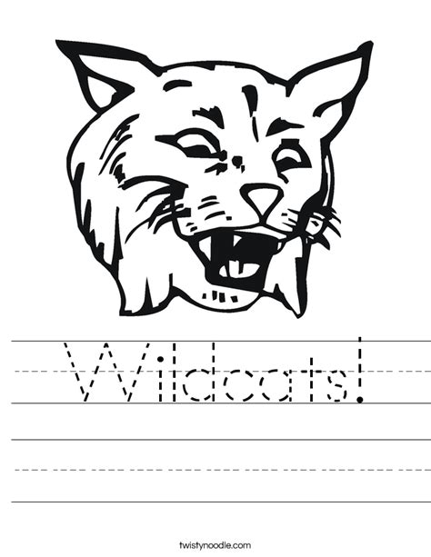 coloring pages wild cats wildcats worksheet twisty noodle