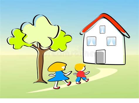 Fr Hling Im Garten 5614 by Kinder Gehen Nach Hause Gl 252 Cklich Stock Abbildung