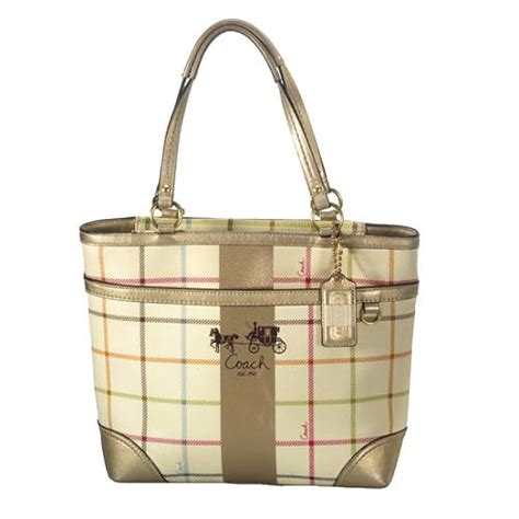 Coach Tattersall Travel Tote by Coach Heritage Stripe Tattersall Medium Tote