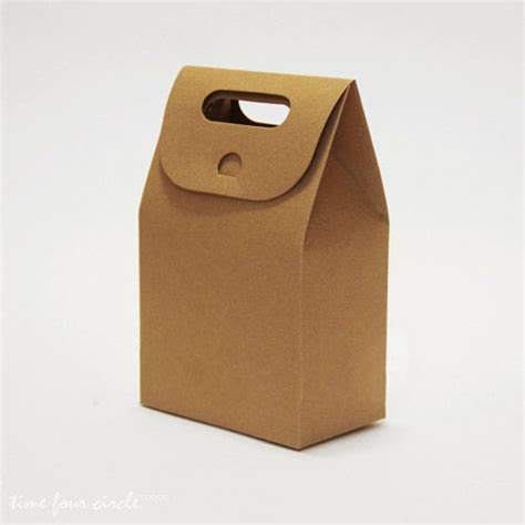 brown craft paper flat bottom wedding favor packaging