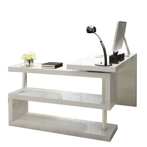 High Work Desk by Buy Siena White High Gloss Rotating Office Desk From Our