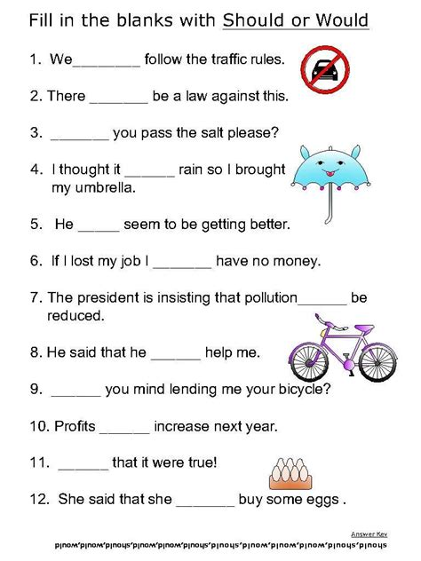 basic verbs worksheets should would 3l school