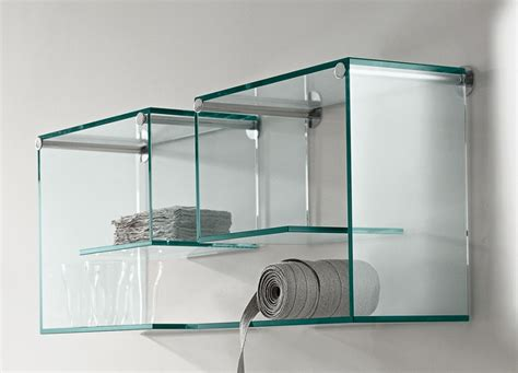 On Wall Glass Shelf by Tonelli Alfabeta Pair Of Glass Wall Shelves Shelving