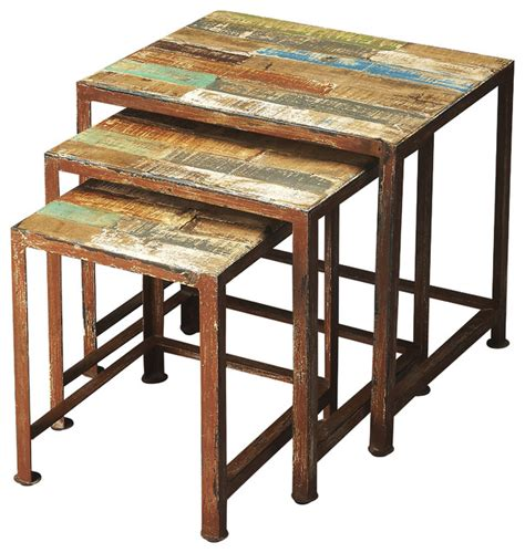 butler decatur recycled wood iron nesting tables