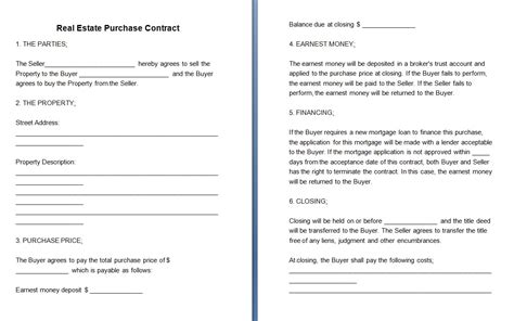 contract house editable real estate contract contract templates