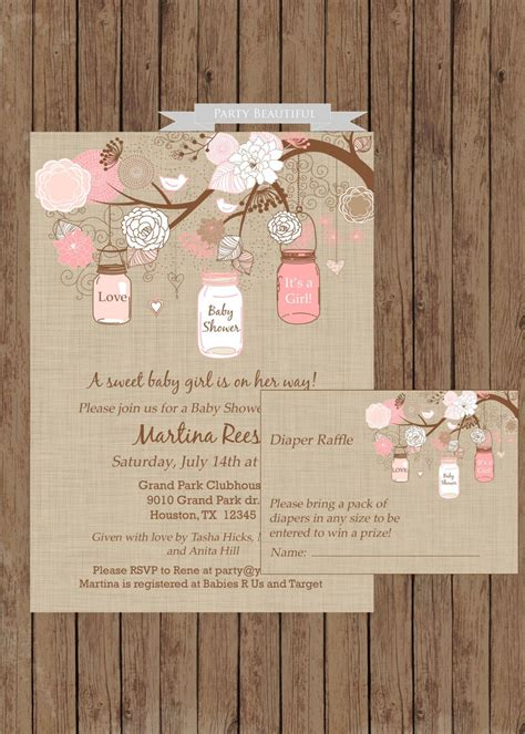 Rustic Themed Baby Shower Invitations by Rustic Baby Shower Invitation And Raffle By