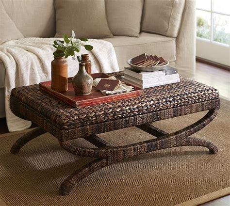 seagrass ottoman coffee table seagrass coffee table ottoman pottery barn coastal