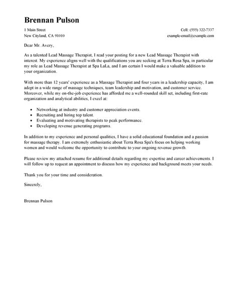 Lead Architect Cover Letter by Best Lead Therapist Cover Letter Exles Livecareer