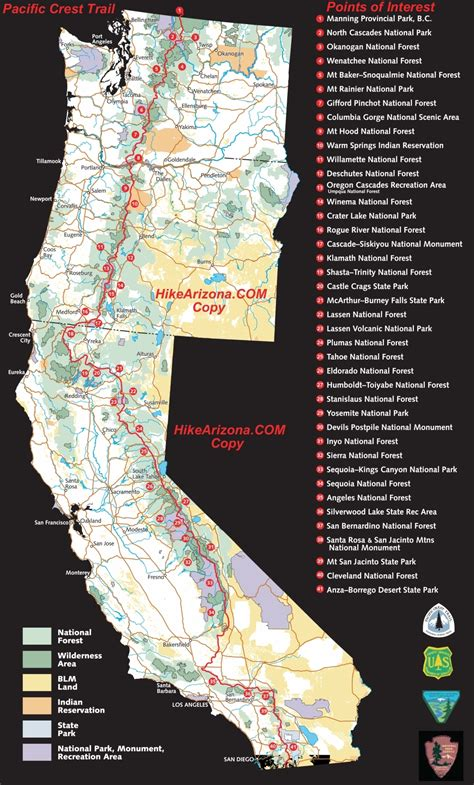 Pct Sections pacific crest trail segments hikearizona