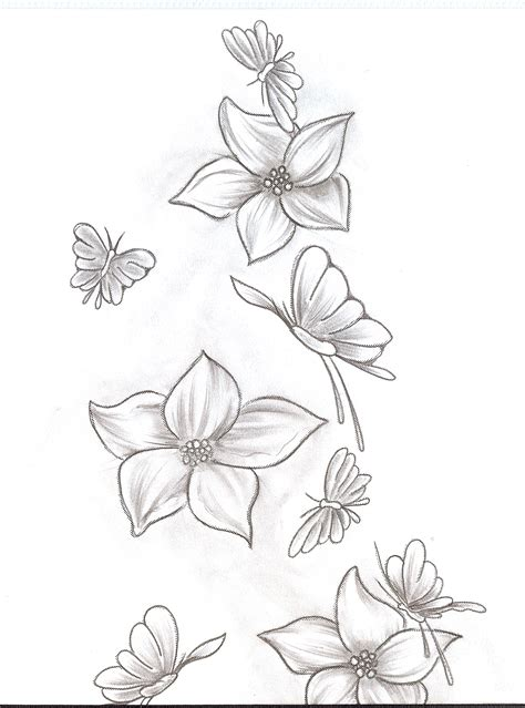 flower with butterfly tattoo designs flower tattoos