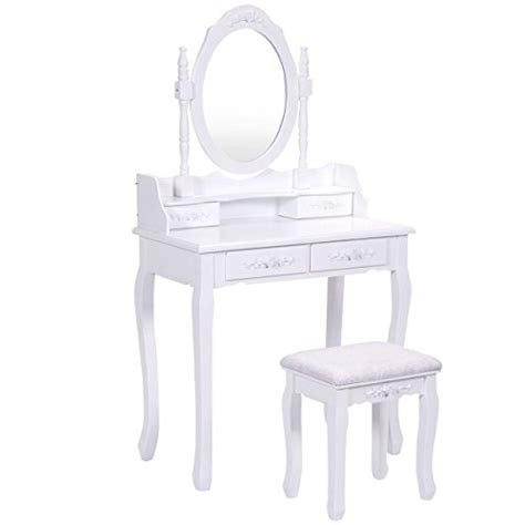 vanity benches for bedroom giantex vanity wood makeup dressing table stool set