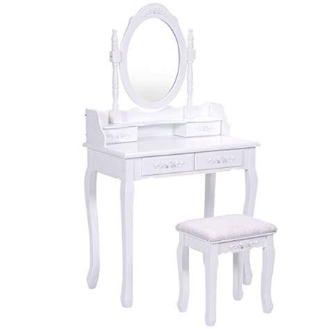 giantex vanity wood makeup dressing table stool set