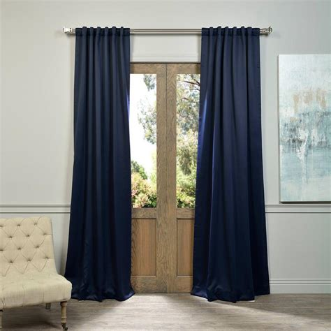 Blackout Navy Curtains Exclusive Fabrics Furnishings Navy Blue Blackout Curtain 50 In W X 96 In L Pair Boch