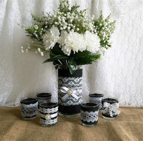 bridal shower decoration ideas black and white black burlap and white lace covered votive tea candles and vase country chic wedding decorations