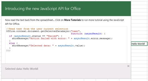 Spreadsheet Api Tutorial by Learn How To Write Apps For Office Code Interactively With