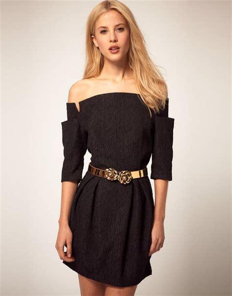 river island shoulderless belted dress in lyst