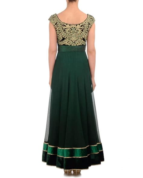 pista green color long anarkali suit panache haute couture bottle green color long anarkali suit panache haute couture