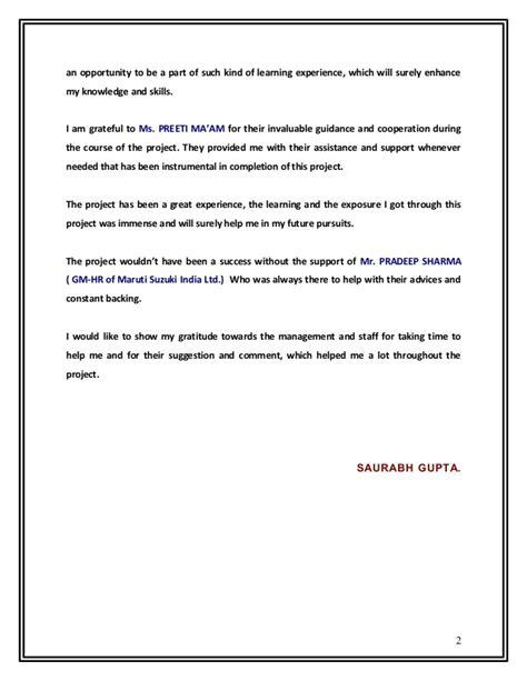Maruti Suzuki Mba Project by Project By Saurabh Gupta On Maruti Suzuki India Ltd 1