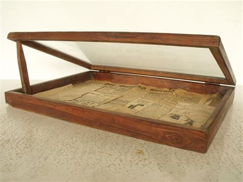 table top glass jewelry display cases seller display wood box glass lid vintage tabletop curio