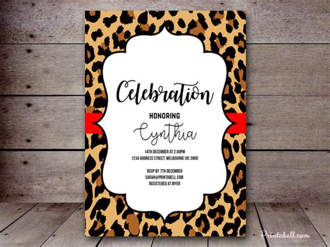 leopard print invitations templates invitations printabell create